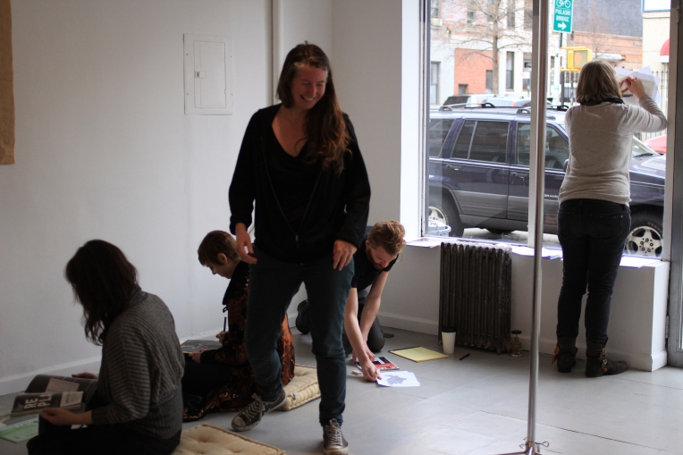 Participants in the writing workshop at Rawson Projects, as part of The Balloon exhibition, curated by Jessamyn Fiore.