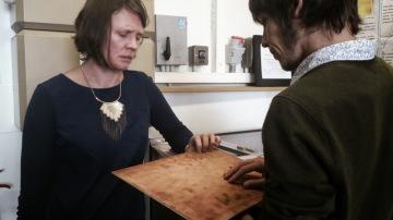 Seoidin O'Sullivan and Karol O'Mahony discussing potential materials at CTVR/DIT Antenna Lab