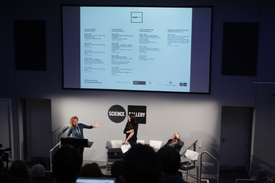 Curator's Linda Doyle (L) and Rachel O'Dwyer (Middle) introduce OpenHere and Speaker Nigel Dodd (R)